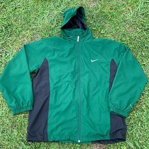 VTG NIKE GREEN & BLACK WINDBREAKER SZ XL